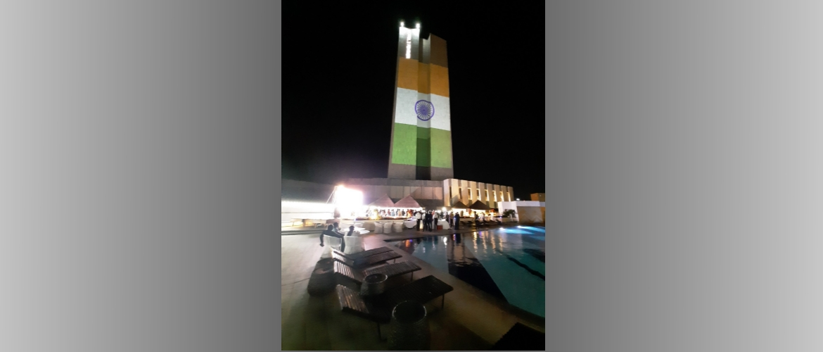 The prestigious 2 Fevrier Hotel in Lomé, Togo draped in tricolour on the eve of India's Independence Day