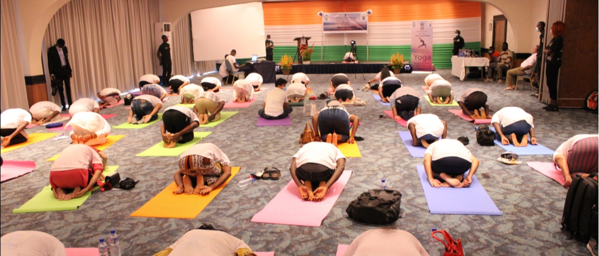 Celebrations of the 7th International day of Yoga, organized by the Embassy of India in Lomé, Togo on  21 June 2021